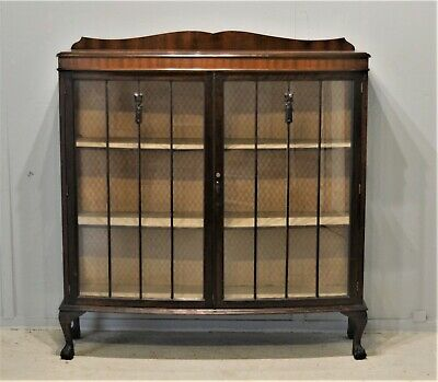 Antique Bow Front Mahogany Glass Display Cabinet Ball & Claw Delivery Available