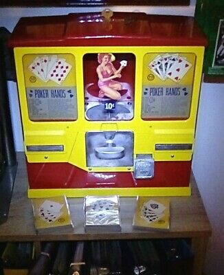 1950's Premiere Gumball poker card vending machine w 68+ cards