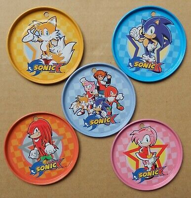 Sonic the Hedgehog Tazo Tazos Set of 5 Large Game Metal Pog Pogs SEGA Knuckles