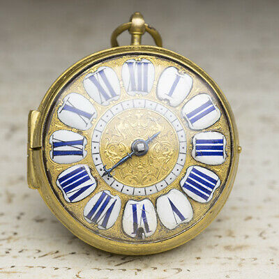 SINGLE HAND 1690s FRENCH LOUIS XIV OIGNON Verge Fusee Antique Pocket Watch