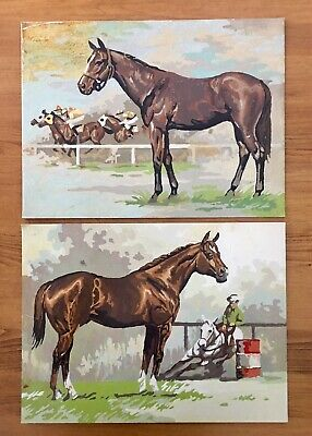 Vintage Paint by Number Horse Racing Set Of Two