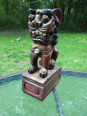 Vintage Wood Hand Carved Chinese Feng Shui Foo Dog Wooden Figure Statue