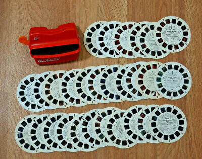RED VIEWMASTER with 28 Vintage REELS 80s Smurf He-Man Sesame Street Mickey Mouse