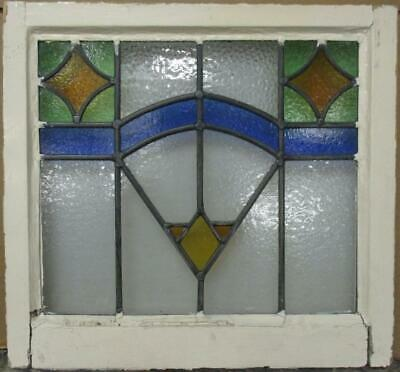"OLD ENGLISH LEADED STAINED GLASS WINDOW Pretty Geometric Design 21.5"" x 20"""