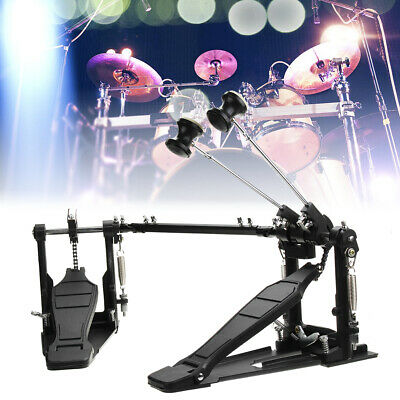 Double Bass Drum Pedal Kick Twin Chain Drive Percussion Aluminum Alloy US