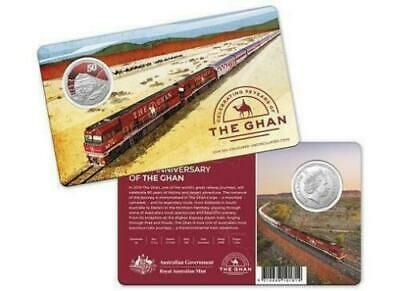 2019 50c 90TH ANNIVERSARY OF THE GHAN COLOURED UNCIRCULATED COIN ON CARD RAM