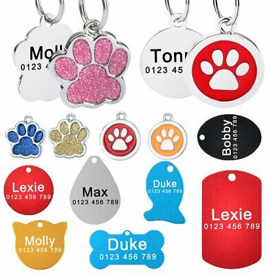 Custom Engraved DOG Tags Personalized Stainless Steel Cat Pet Puppy ID Name Tag