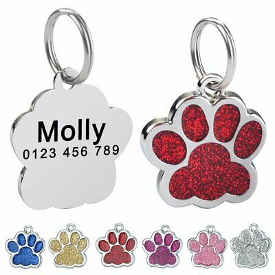 Persoanlized Dog Tags Cat Per Puppy Kitten ID Name Custom Engraved Glitter Paw