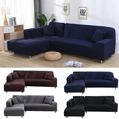 Universal Stretch Elastic L Shape Sofa Cover Sectional/Corner Couch Covers Pure