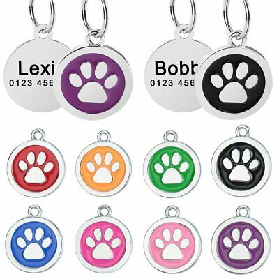 Stainless Steel Paw Circle Name Tags Personalized Dog Tags Cat Puppy Pet ID Name