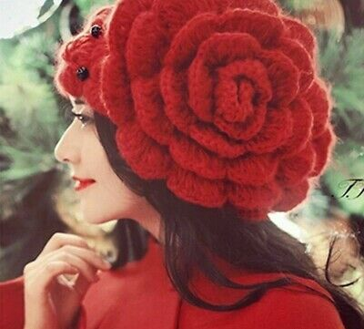 Knitted Beanie Winter Hat For Ladies Floral Design Beads Wool Skullies Headgears
