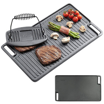 Cast Iron Griddle Grill Large Plate Pan Steak BBQ Press Gas Electric Stove Top