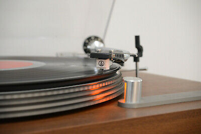 Vintage turntable and record collection
