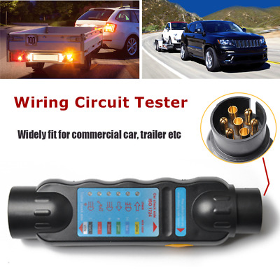 1*Trailer Wiring Circuit Tester for 7 Pin Cable Plug Socket Car Boat Caravan 12V