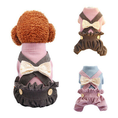 Pet Dog Clothes Cute Bow Overall Jumpsuit Costume Small Medium Dogs Pant Apparel