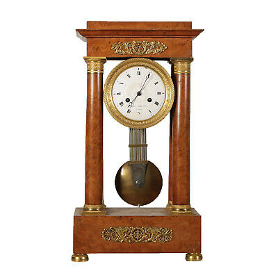 Portico Clock Gaston Jolly a Paris Elm Burl Veneer France 19th Century