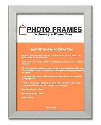 Silver Color Photo Frame With Mounts Flat Photo Frame Wood Effect Picture Frames