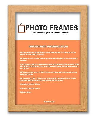 Oak Colour Picture Frame With Mounts Flat Poster Frame Wooden Effect Photo Frame