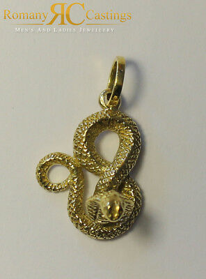 Cobra Snake Pendant in Jewellers Bronze and Dipped in 9ct Gold 4.1g 25 X 15 mm