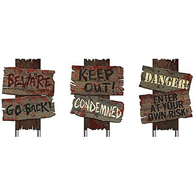 Beware Halloween Scary Yard Stake 3 Pc Signs Plastic Wooden Look Realistic Blood