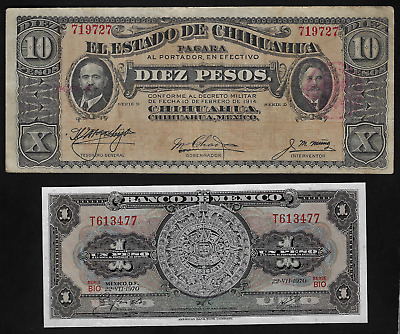 Mexico(2)Bank Notes 10 Peso D 1914 P S 533 Xf And 1 Peso 22 7.1970 P 59L Unc
