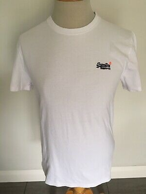 Superdry Mens White Orange Label T-Shirt Size L. New With Tags.
