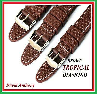 18mm 20mm 22mm Brown TROPICAL Style Diamond Watch Strap Rubber White Stitching