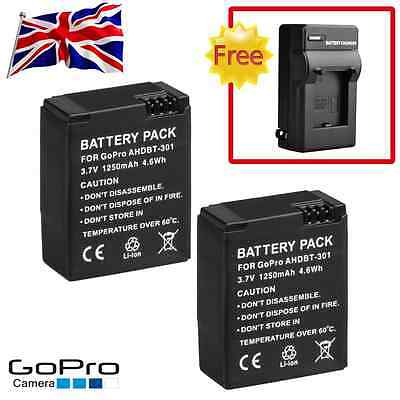 2X AHDBT-301 201 1250mAh Battery + Charger For GoPro HD Hero 3 3+ Black New UK