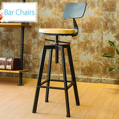 Breakfast Bar Stools Industrial Retro Vintage Pub Kitchen Dining Chair W/ Back ☆