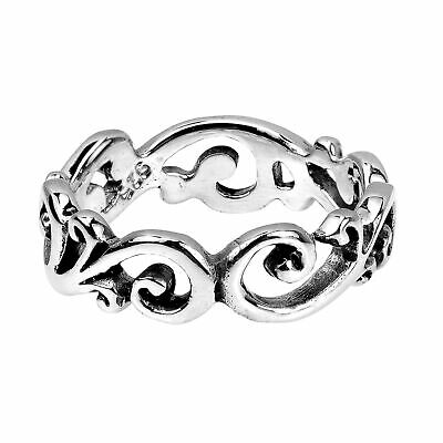 Swirl/Filigree All-Around Band .925 Silver Ring-6.5