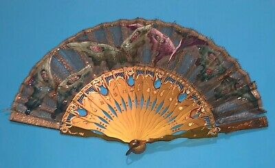 Rare Antique French Art Deco Hand Painted Butterfly Scene Gold Gilt Fan