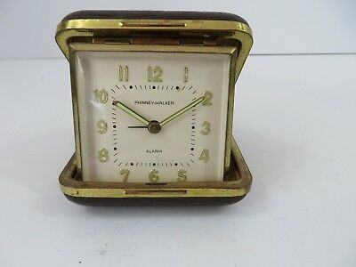 Vintage Phinney-Walker Folding Travel Alarm Clock Made In Germany #7676