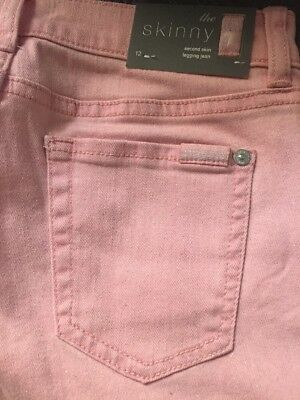 7 For All Mankind Girls Stretchy Pink Sparkly Skinny Legging/ Jeans -12 y -NWT