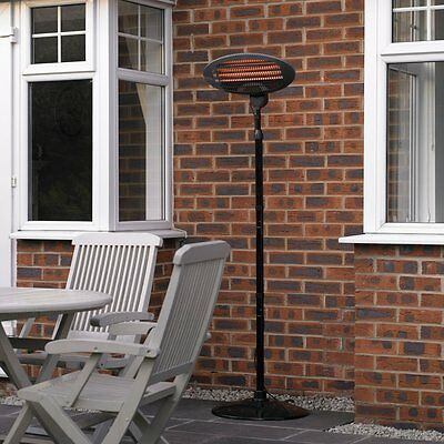Large Free Standing Patio Heater Fire Outdoor Garden Electric Heating Quartz 2KW