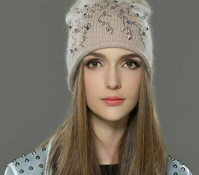 Winter Hat Knitted Beanie For Women Classic Angora Skullies Cotton Headwear Caps