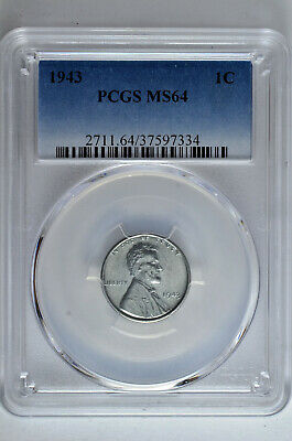 1943 1c Lincoln Steel Wheat Cent PCGS MS 64