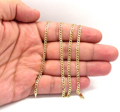 "Solid 14k Yellow Gold Cuban Chain Necklace 3.5mm 16"" 18"" 20""24"" 26"" 30"""