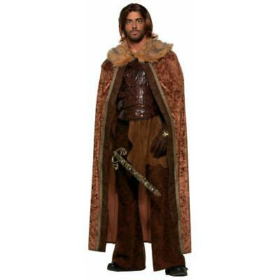 Medieval Fantasy Brown W/Faux Fur Trim Adult Costume Cape One Size