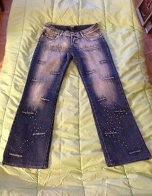 ladies unusual sparkly beaded distressed blue stonewashed tie-dye jeans size m