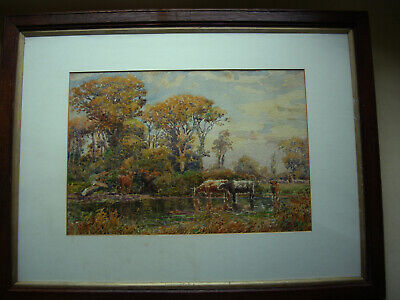old original vintage watercolour painting indistinctly signed