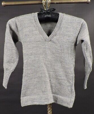 Antique 1920'S Child's Gray Wool V Neck Sweater Old Stock