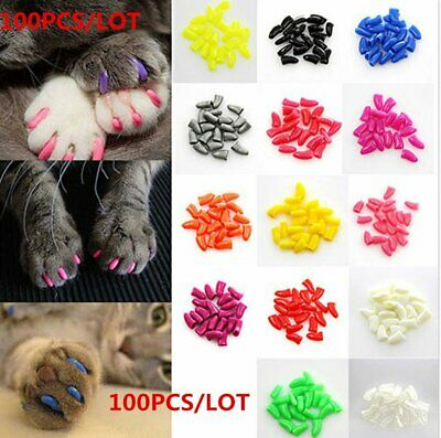 Brostown 100Pcs Cat Nail Caps Claws Soft Paws of 5 Colors with Adhesive Glues...