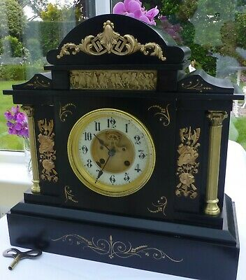 Slate Mantel clock with a visible escapement/Brocot movement fabulous condition