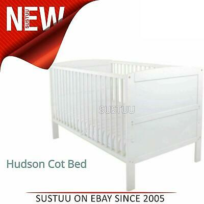 East Coast Hudson Cot Bed¦Baby/Kids Convertible bed With 3 Base Position¦White