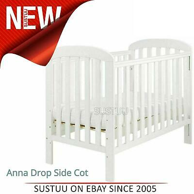 East Coast Anna Drop Side Cot¦3 Base Heights + 2 Protective Teething Rails¦White