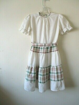 1970s VINTAGE GIRLS DRESS SMOCK CREAM BROWN GREEN PRAIRIE TIERS AGE 7 8