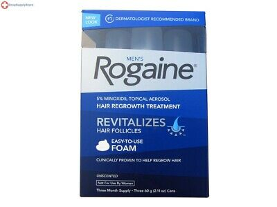 Men's Rogaine 5% Minoxidil Hair Regrowth Treatment Foam 3 months supply