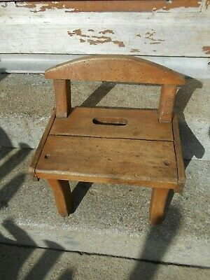 Antique French charming/rustic  footstool/plant stand/chair hand made