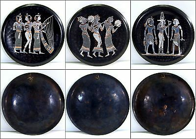 """Set of 3 Egyptian Revival Copper Art Plates 9.75"""" Round"""