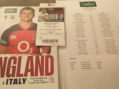 England V Italy Quilter International 2019 Programme Ticket And Teamsheet